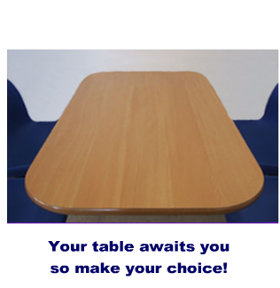 Empty table so choose your meal