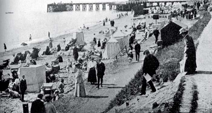 A busy West Beach around 1908.