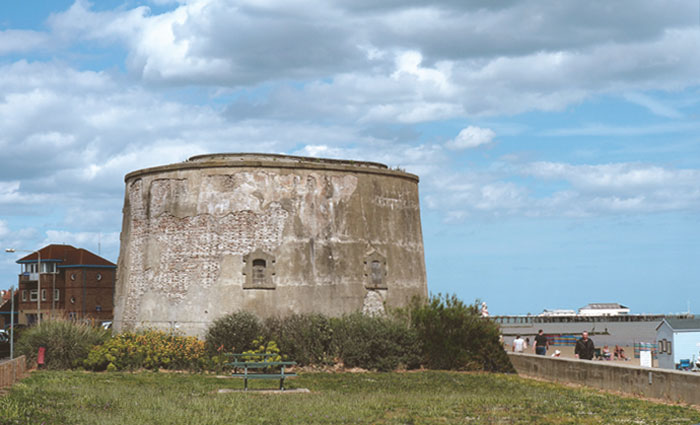 Martello Tower E situated on the west side of the cafe.