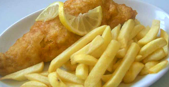 Fish and chips are very popular in a Clacton cafe