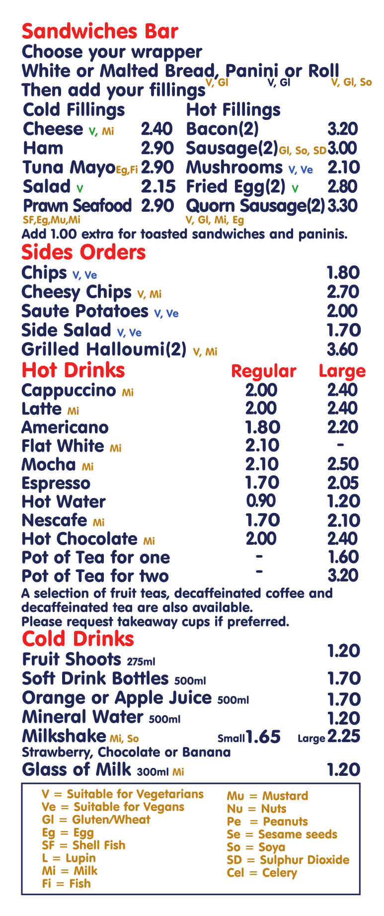 Cafe Menu 2019 S/W and hot drinks