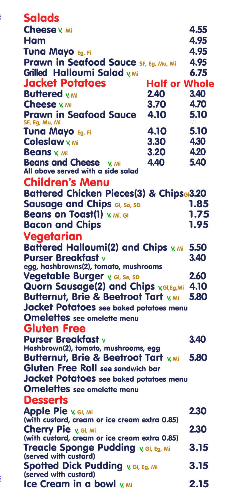 Menu 2020 Lunches