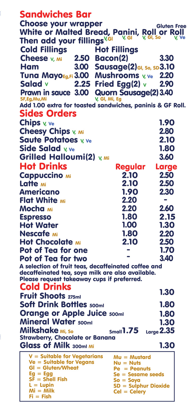 Menu 2020 Hot Drinks