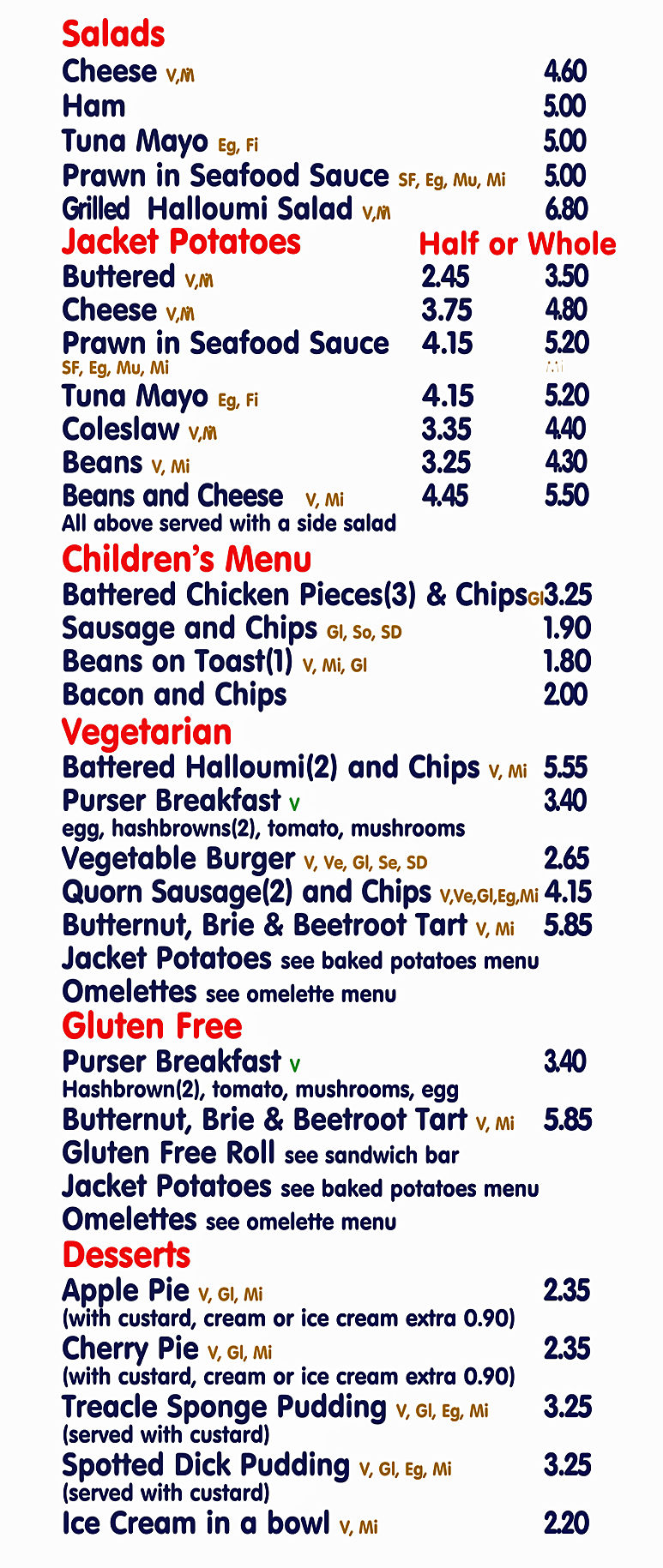 Menu 2021 Lunches